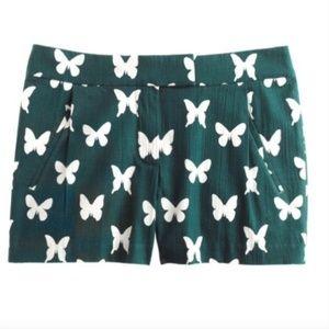 J. Crew Green & White Butterfly Print Shorts 8